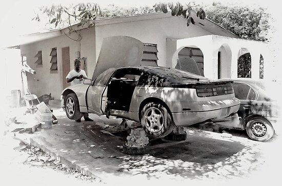 Fixin' Da Car in Fox Hill Village - Nassau, The Bahamas by 242Digital