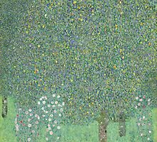 Gustav Klimt - Rosebushes under the Trees by TilenHrovatic
