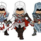 Ezio Auditore Trio Chibi by SushiKitteh&#x27;s Creations