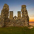 Reculver Towers at dusk by Geoff Carpenter