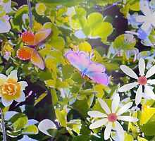 Butterflies in a flower patch 2 by ♥⊱ B. Randi Bailey