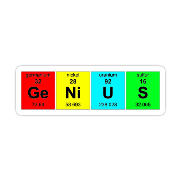 Chemistry Genius (periodic table)  t-shirt and sticker by Domsbubble