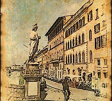 Florence (Firenze) Italy bridge end statute 2 by Pontvert