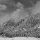 Flatiron Snow Dusting Boulder Colorado Black and White by Bo Insogna