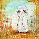 Autumn Joy, Whimsical, Abstract, White Owl Painting by Itaya