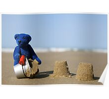 Blue Bear's day at the beach! Poster