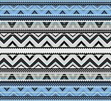 Mix #76, Double Size - Blue Aztec Pattern by Orna Artzi