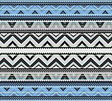 Mix #76, Double Size - Blue Aztec Pattern by Orna Artzi