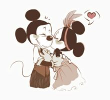 Mickey and Minnie kiss by Bubuka