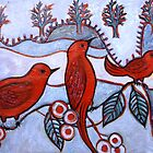 Red Birds at the Lake by Belinda &quot;BillyLee&quot; NYE (Printmaker)
