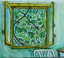 Watercolor Sketch - The Window to Summer. by Igor Pozdnyakov