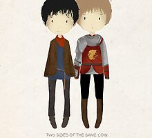 Cute Merlin and Arthur / MERTHUR by koroa