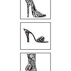 3 shoe doodles by Jakki O