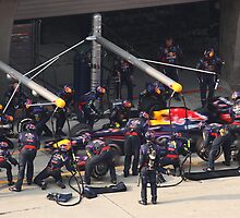 Mark Webber Pitstop @ UBS Chinese F1 Grand Prix by Mark Bolton