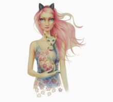 Pink Haired Girl Holding A Floral Sphinx Cat  by Scot Howden