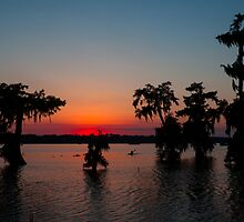 Kayaking at Sunset on Lake Martin, Louisiana by Paul Wolf