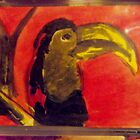 Awesome red Tuchan Bird Cute Zoo aceo colorful signed ORIGINAL by linwatchorn