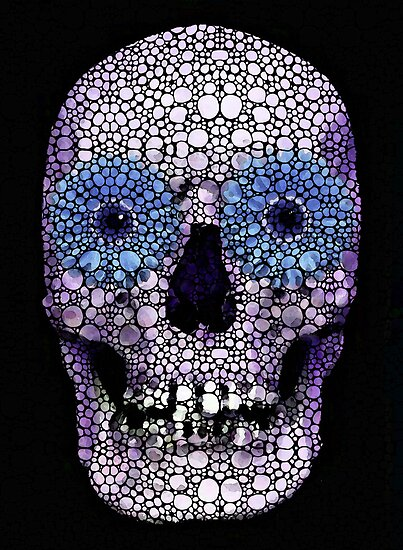 Skull Art - Day Of The Dead 2 Stone Rock'd by Sharon Cummings