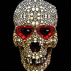 Skull Art - Day Of The Dead 3 Stone Rock'd by Sharon Cummings
