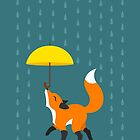 Happy as a Fox balancing an Umbrella in the Rain by foxandwhale