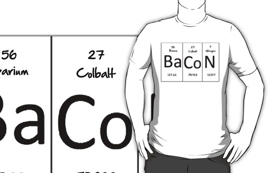 Bacon (periodic table) t-shirt and sticker by Domsbubble