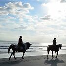HORSEBACK ON THE BEACH GREETING CARD by dagokid