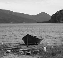 Lonely Black Row Boat by Rachel Gagne