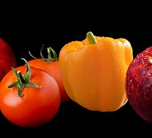 Fruit and Veggie on Black Composite by Jerry Deutsch