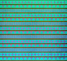 Aztec Mint Purple Aqua by Mary Nesrala