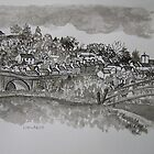 Pen and Ink-The Bridge-Llandeilo-01 by Pat - Pat Bullen-Whatling Gallery