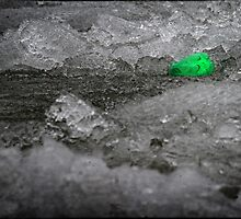 Pop Bottle Floating Along with Some Ice During Spring Thaw by Nazareth