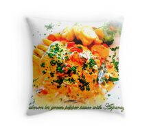 Il Casale ~ salmon in green pepper sauce with asparagus Throw Pillow