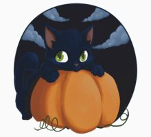 Black cat and pumpkin by Tunnelfrog