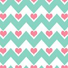 chevron&amp;hearts - pink&amp;teal by designsbyjenn