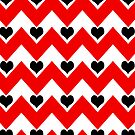 hearts&amp;chevron - black&amp;red by designsbyjenn