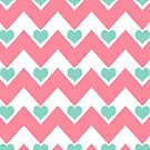 hearts&amp;chevron - teal&amp;pink by designsbyjenn