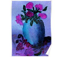 Blue vase and flowers, watercolor Poster