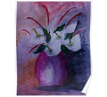 Red vase and flowers, watercolor Poster