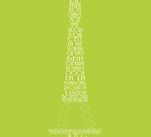 'Wordy Structures' Eiffel Tower Green by Becki Breed