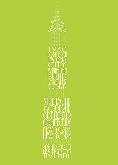 'Wordy Structures' Chrysler Building Green by Becki Breed
