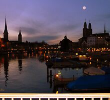 The moon and Zurich by Shiva77