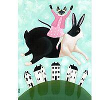 Siamese Cat and Hopping Rabbit Photographic Print