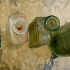 OLD BOTTLES ON A GLASS TABLE by Redlady