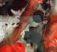 Universal Qi - Zen Black And Red Art by Sharon Cummings