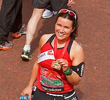Susanna Reid after finishing the London Marathon 2013 by Keith Larby