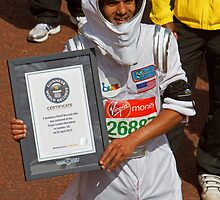 Basu Subhashis dressed as an astronaut for the london Marathon by Keith Larby