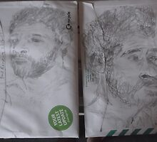 2XSelf-portraitS from photo -(220413)- Pencil/Back of A5 Envelope by paulramnora