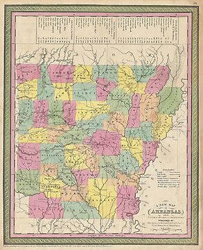 Vintage Map of Arkansas (1853) by alleycatshirts