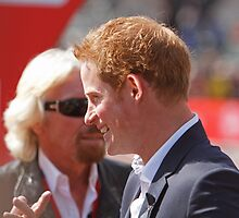 Prince Harry & Sir Richard Branson at The Virgin London Marathon 2013 by Keith Larby