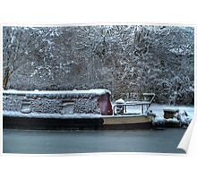 Frozen Narrowboat on Kennet and Avon Canal Poster